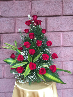 24 Red Roses on Rustic Base
